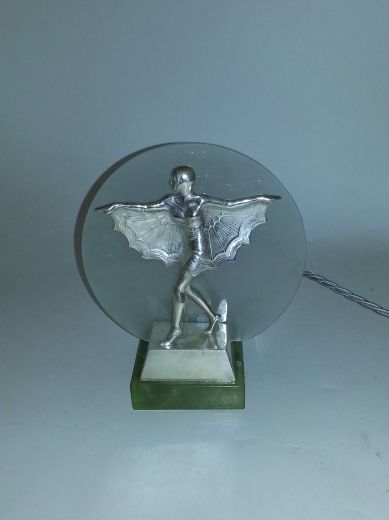 art deco bronze JOSEF LORENZL ART DECO SILVERED BRONZE (item #1118)