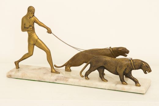 art deco bronze ART DECO BRONZE FIGURE WITH PANTHERS (item #1140)