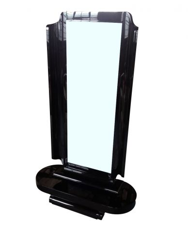 art deco mirrors ART DECO BLACK LACQUER CHEVAL (item #1228)