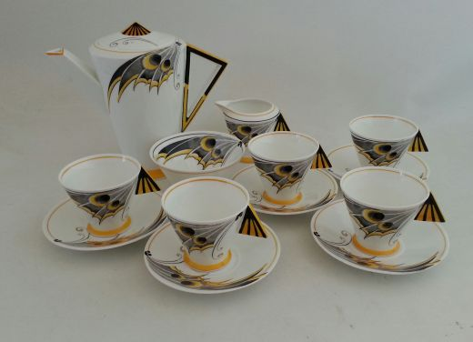 SHELLEY MODE MODE YELLOW BUTTERFLY WING COFFEE SET (item #1235)