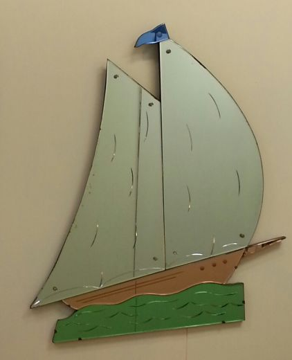 art deco mirrors RARE ART DECO LARGE SAILBOAT MIRROR (item #1247)