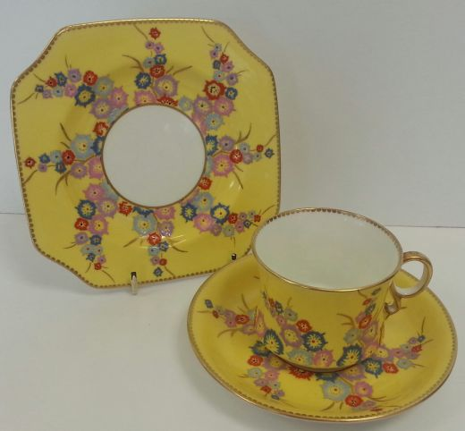 Carlton Ware ART DECO HAND ENAMELED TRIO (item #1260)