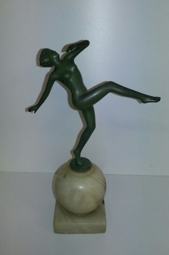 art deco sculpture AN ART DECO FIGURE IN THE MANNER OF LORENZL (item #1325)