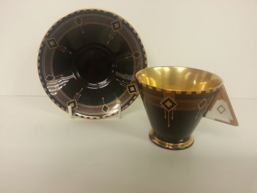 shelley vogue RARE SHELLEY ART DECO VOGUE BLACK DIAMONDS VOGUE COFFEE CUP AND SAUCER (item #1327)