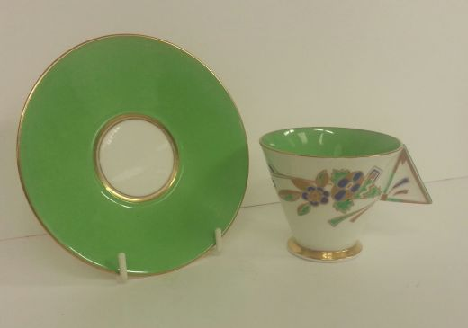 shelley vogue RARE SHELLEY ART DECO VOGUE HORN OF FLOWERS COFFEE CUP AND SAUCER (item #1328)
