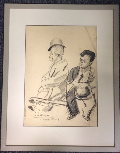 art deco art LAURA KNIGHT CHARCOAL DRAWING (item #1371)