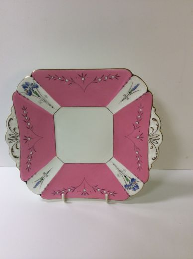 shelley art deco  SHELLEY QUEEN ANNE PINK PANEL BLUE IRIS TAB HANDLED PLATE (item #1379)