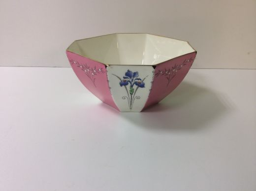 shelley art deco  SHELLEY RARE QUEEN ANNE PINK PANEL BLUE IRIS SUGAR BOWL (item #1380)