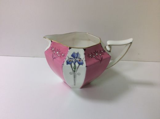 shelley art deco  RARE SHELLEY QUEEN ANNE MILK JUG WITH PINK PANEL BLUE IRIS (item #1381)