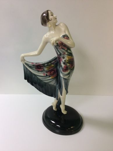 goldscheider ART DECO FIGURE OF AN ELEGANT FEMALE WITH SHAWL (item #1401)