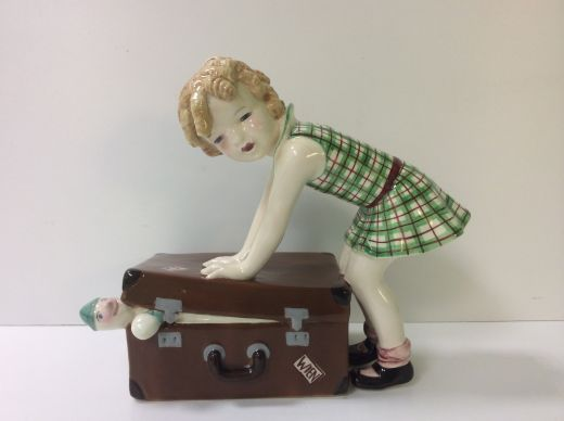 goldscheider ART DECO FIGURE GIRL WITH SUITCASE (item #1404)