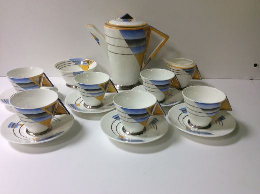 SHELLEY MODE SHELLEY ART DECO SHADES AND LINES COFFEE SERVICE (item #1498)