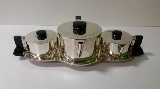 art deco silver WILCOX DINETTE SET RARE ART DECO TEA SET (item #1539)