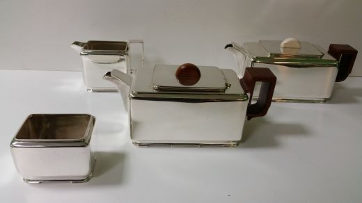 art deco silver HAROLD STABLER  ART DECO TEA AND COFFEE SET (item #1541)