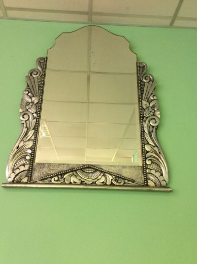 art deco mirrors ART DECO SILVER GILT GESSO MIRROR (item #1548)