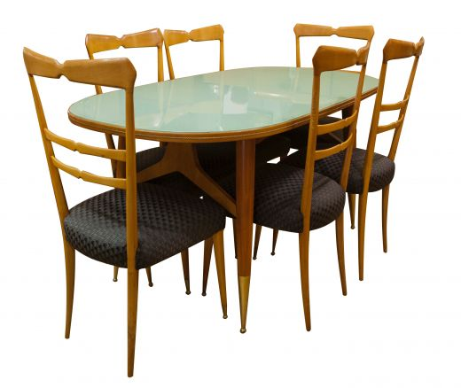 dinning tables MID 20TH CENTURY DESIGN ICO AND LUISA PARISI DINING TABLE AND SIX CHAIRS (item #1614)