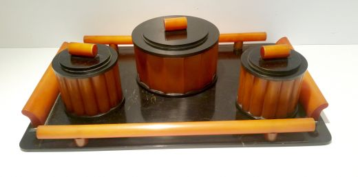 Bakelite ART DECO BAKELITE DRESSING TABLE SET (item #1624)