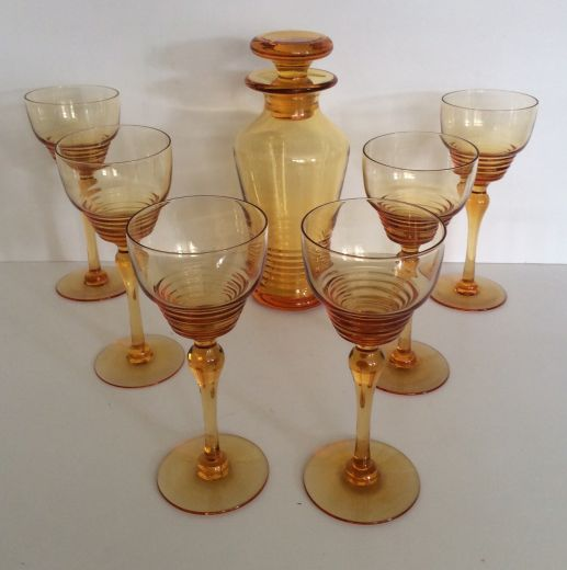 art deco glass STUART CRYSTAL ART DECO HOCK GLASSES AND DECANTER (item #1678)