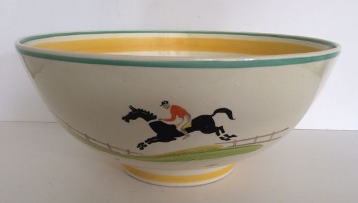 Susie Cooper SUSIE COOPER HAND PAINTED LARGE PUNCH BOWL HORSE AND JOCKEY (item #1683)