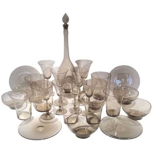 ART DECO GLASS Suite of Glasses by Orrefors