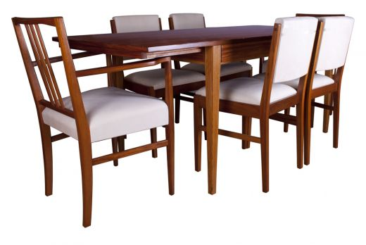 dinning tables GORDON RUSSELL TULIP WOOD DINING TABLE AND SIX CHAIRS (item #1718)