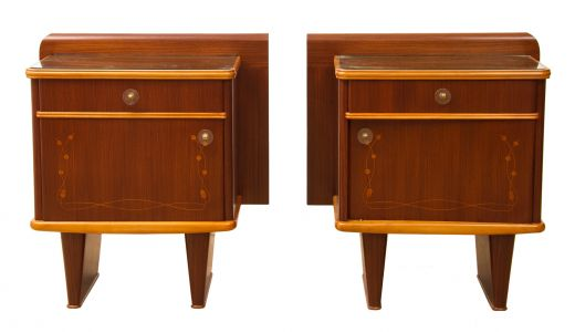 BEDSIDE TABLES MID CENTURY ITALIAN BEDSIDE CABINETES (item #1770)