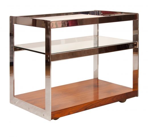MID CENTURY FURNITURE MERROW ASSOCIATES ROSEWOOD AND CHROME BAR CART (item #1793)