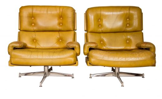 CHAIRS MIDCENTURY PAIR OF LEATHER SWIVEL CHAIRS BY HOWARD KEITH (item #1814)