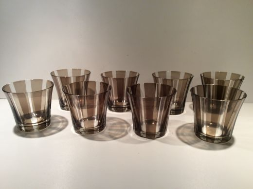 GLASS MID CENTURY CUT CRYSTAL GLASSES (item #1845)