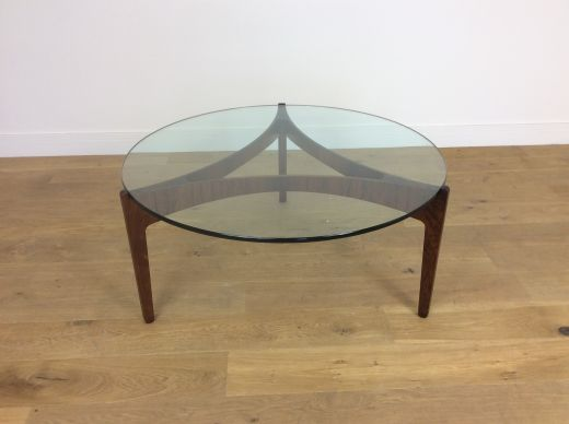 TABLES MID CENTURY DANISH ROSEWOOD AND GLASS TABLE (item #1864)