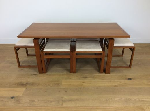 DINING TABLES MID CENTURY DINING TABLE AND SIX FLIP TOP TABLE CHAIRS (#1911)