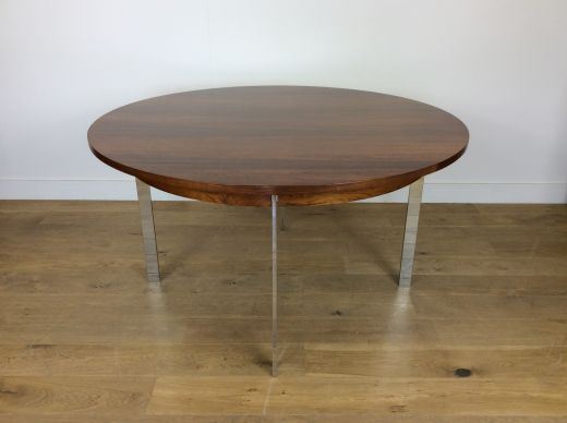 tables MID CENTURY ROSEWOOD AND CHROME DINING TABLE by MERROW ASSOCIATES (item #1936)