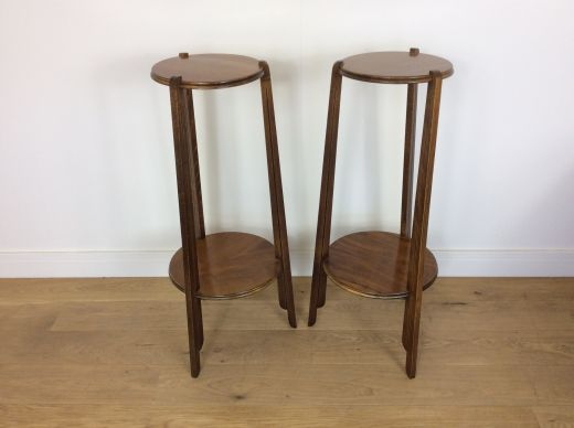 art deco tables A PAIR OD ART DECO TALL HALL STANDS (item #1955)