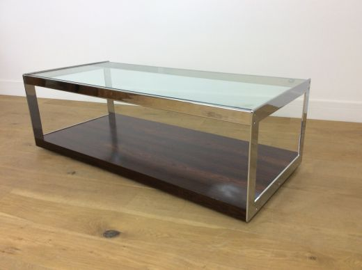 tables MID CENTURY ROSEWOOD CHROME AND GLASS TABLE BY MERROW ASSOCIATES (item #2006)