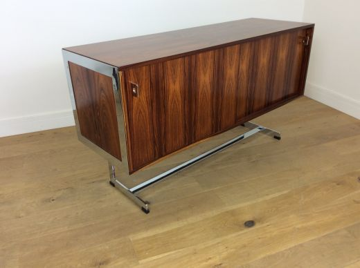 sideboard credenzas Mid century rosewood and chrome sideboard credenza by Merrow associates (item #2008)