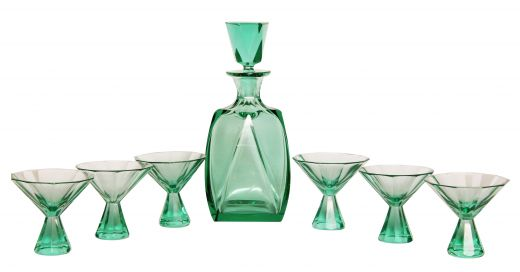art deco glass Art Deco Cut Crystal Liquor Set (#2103)