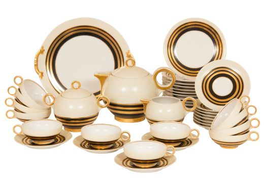 Limoges Art Deco Fine Bone Chine Tea Set by Charles Ahrenfeldt for Limoges (item #2136)