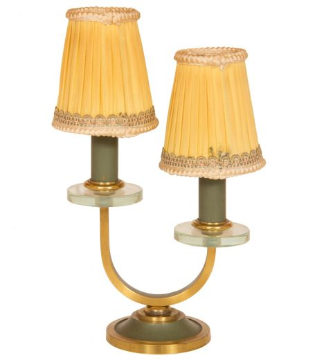 art deco table lamps Art Deco Green & Gold Twin Branch Table Lamp by Adnet (item #2140)