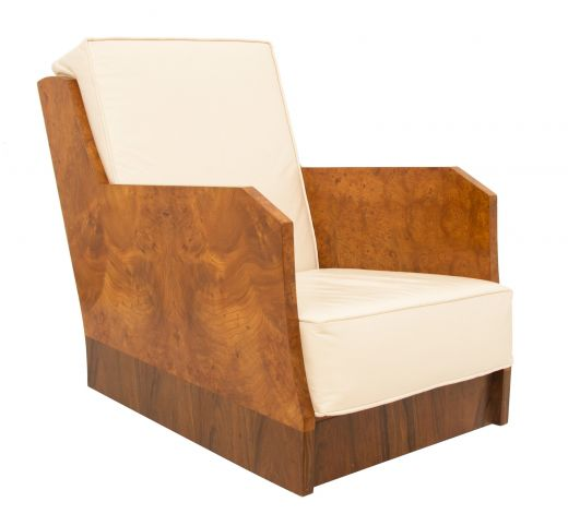 ar deco armchairs Art Deco Burr Elm Armchair (item #2196)