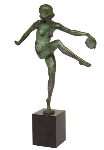 art deco bronze Art deco Pierre Laurel bronze figure of a tambourine dancer. (item #2205)