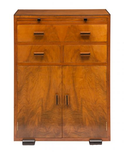 Art deco cabinet Art deco walnut cabinet with writing drawer (item #2241)