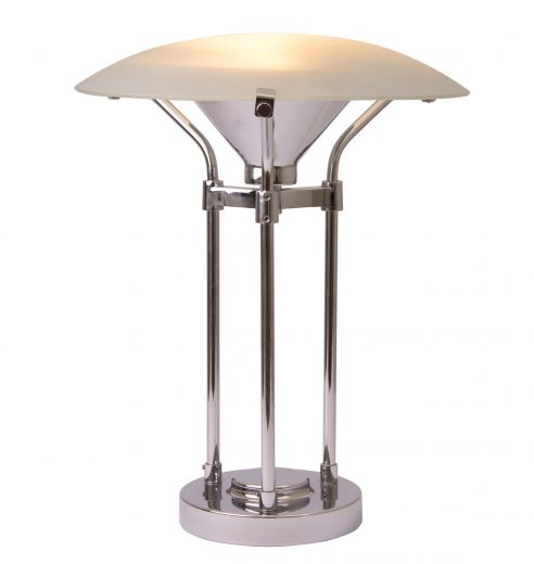 lighting Midcentury Table Lamp with Frosted Glass Canopy Shade (item #2272)
