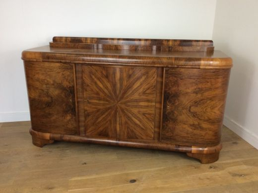 art deco sideboard credenza Art deco sideboard with sunburst design by Jindrich halabala (item #2282)