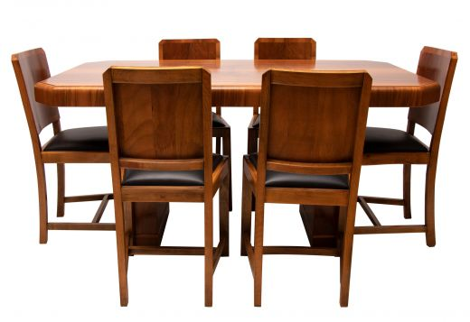 art deco dining table and chairs Art deco walnut dining table and six chairs (item #2287)