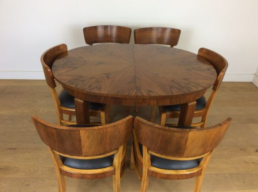 art deco dining table and chairs Art deco extendable dining table and six chairs (item #2289)