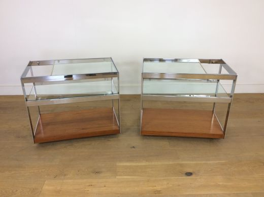 Bar carts Pair of mid century Merrow associates bar carts (item #2290)