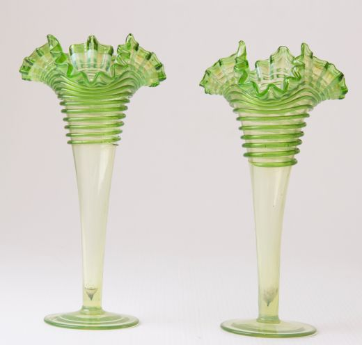 art nouveau Pair of Art Nouveau Ribbon Top Vases  (item #2293)