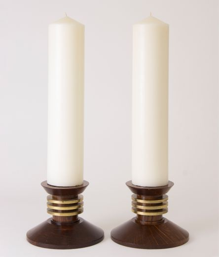 art deco candlesticks Large pair of art deco candlesticks (item #2322)