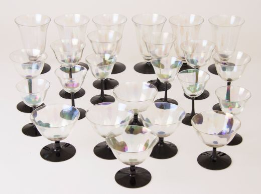 barware Suite of Art Deco Cocktail Glasses (item #2323)