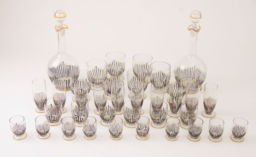 barware Suite of Art Deco Hand Enamelled Glasses with Decanters  (item #2324)